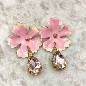 Pink flower and rhinestone earrings